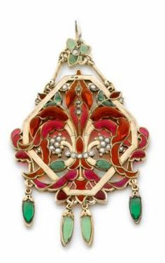 An Art Nouveau enamel and silver pendant by SUAU de la CROIX .Lozenge shaped decorated with flower enamel mesh treated relief of red and green. Gilt silver. French signed work of Cte Suau Cross.