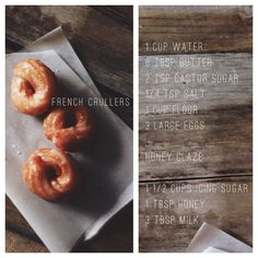 Delicious French Crullers with recipe French Cruller Recipe, Honey Glaze, French Recipes, Large Egg, French Food, Recipe Of The Day, Icing, Sweet Tooth