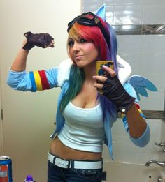 Jessica Nigri's Rainbow Dash cosplay//I'm actually really surprised it's not as boob centered as her cosplays usually are.