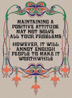Positive Attitude PDF Cross stitch Pattern by Chartsandstuff