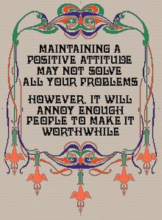 Positive Attitude PDF Cross stitch Pattern by Chartsandstuff