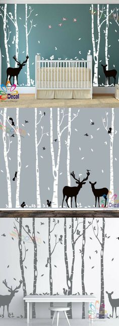 Removable Nursery Birch Tree Forest with Birds and Deer fawn doe buck and squirrels (6 trees) #afflink nursery decor. nursery inspiration. nursery ideas. kids room decor. kids room inspiration. kids room ideas. nature nursery