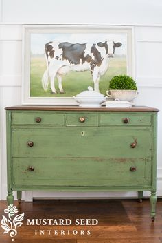 MMS Milk Paint Boxwood dresser before and after - www.missmustardseed.com