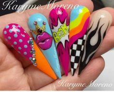 Matte Stiletto Nails, Edgy Nails, Bling Nails, Creative Nail Designs, Creative Nails, Nail Art Designs, Pop Art Nails, Hippie Nails, Nail Drawing