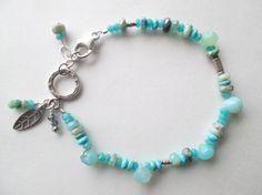 Caribbean Aqua Blue Peruvian Opal 925 Silver Artisan Bracelet Designed by Blue Tortue