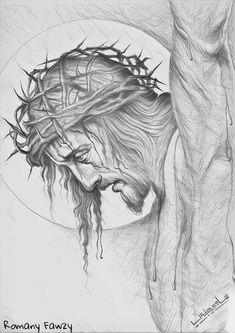 Artwork of Jesus Christ Our Savior Jesus Drawings, Pencil Art Drawings, Art Sketches, Jesus Christ Drawing, Catholic Art, Religious Art, Tattoo Crane, Christ Tattoo, Jesus Christ Images