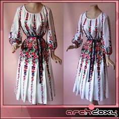 Amazing! 1970s Gypsy Border Print White Bohemian Dress #vintage #boho #vintagedress  http://www.ebay.co.uk/itm/Vintage-1970s-Gypsy-Border-Print-White-Bohemian-Dress-Purple-Leather-Belt-UK14-/371618021349?ssPageName=STRK:MESE:IT