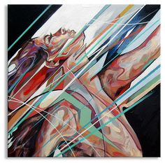 Danny O'Connor paint on canvas. The lines going through this piece and the blurred colors help create a movement in this piece.