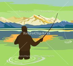 Fly Fisherman Rod and Reel Retro Vector Stock Illustration