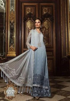Finest embroidered dress collection by Maria b.Elegant look with Maria b dress. Pakistani Dress Design, Pakistani Designers, Pakistani Dresses, Indian Dresses, Indian Outfits, Pakistani Suits, Anarkali Dress, Pakistani Bridal, Designer Wear