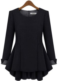 Black Long Sleeve Ruffle Slim Blouse pictures