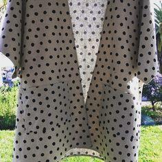 Ellen coat + patch pockets. #everydaywear #coat #cardigan #layers #polkadots #japanesecotton #textiles #handmade #madebyme #look #style…
