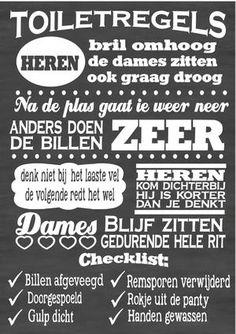 Bekijk de foto van VanEtje met als titel Tekstbord / Tekststicker Toiletregels Chalkboard typography by VanEtje en andere inspirerende plaatjes op Welke.nl.