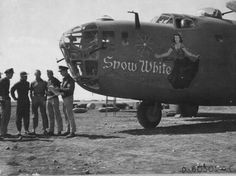 """B-24 """"Snow White"""" of the 98th Bombardment Group. Most likely taken when based in Benghazi in 1943. Warbirds in video: http://www.militarycinema.com/98th-bombardment-group/"""