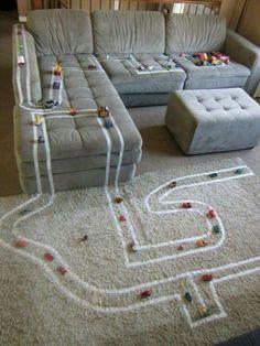 masking tape car tracks - soooo smart