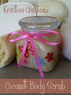 DIY Coconut Body Scrub - Kreative Kreations - This looks easy...but...don't know where to find Raw Sugar :(