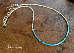 Kingman turquoise pure silver necklace with pure Karen Hill Tribe silver beads, small sterling silver bead caps, and a sterling silver clasp and extender chain. The color of the Kingman turquoise is beautiful! This turquoise is from the Kingman Mines located in northwestern Arizona. This necklace measures about 16 - 18.5 inches with the extender chain. If you need a different size, I may be able to make another or resize this one. Please message me.
