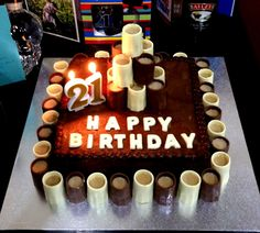 Exclusive Image of Birthday Cakes For Him Birthday Cakes For Him Birthday Cakes For Guys Boys Cake Chocolate Shots With Alcohol 21st Birthday Cake For Guys, 25th Birthday Cakes, Happy 21st Birthday, Birthday Ideas, Birthday Beer, 21 Birthday, Chocolate Shots, Cake Chocolate, Birthday Dinner Menu