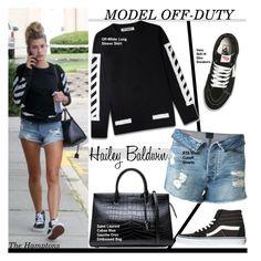 """Hailey Baldwin"" by swweetalexutza ❤ liked on Polyvore featuring Baldwin, RtA, Yves Saint Laurent, Vans, modelstyle, modeloffduty and haileybaldwin"
