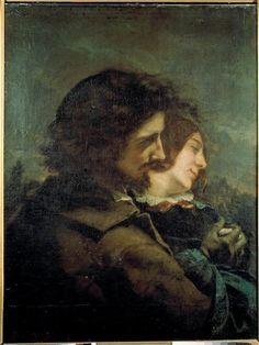 'der glücklich liebhaber', öl auf leinwand von Gustave Courbet (1819-1877, France)
