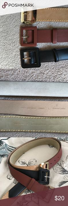 Set of Three wide ladies belts Black and medium brown are leather , the tN is manmade but gorgeous these belts are like new, think I wore black one twice and the other two never . They are all size large and are about two inches wide one is Via Spiga Accessories Belts