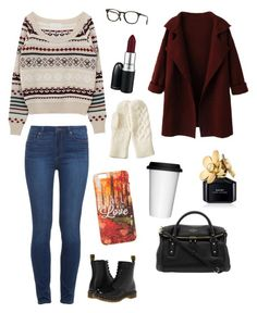 """""""Fall in Love with Fall"""" by jillywoodside on Polyvore featuring Oliver Peoples, Paige Denim, Dr. Martens, Kate Spade, MAC Cosmetics, Sagaform, Marc Jacobs and Uniqlo"""