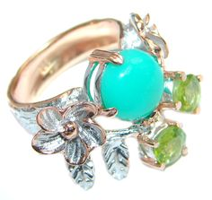 $62.55 Always+Together+Blue+Larimar+Chrysophrase+Rose+Gold+Rhodium+plated+over+Sterling+Silver+Ring+s.+8 at www.SilverRushStyle.com #ring #chrysoprase #peridot