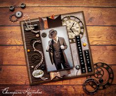Birthday Cards For Men, Man Birthday, Scrapbooking, Scrapbook Cards, Box Photo, Steampunk Cards, Boy Cards, Fathers Day Cards, Masculine Cards