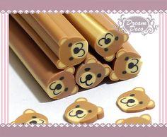 http://www.etsy.com/es/shop/DreamDeco Lovely Brown Bear Animal Polymer Clay Cane / Fimo por DreamDeco, $0.99