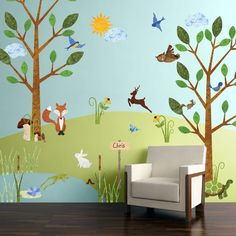 83 large forest animal fabric wall stickers make a forest themed mural in your baby nursery or kids room in minutes free personalization repositionable, reusab