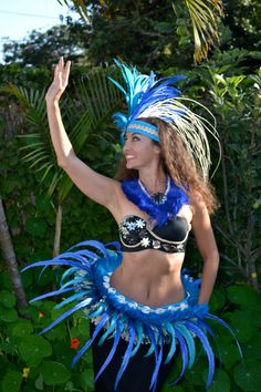Tahitian turquoise and ocean blue feather and by ISLANDMANA, $195.00