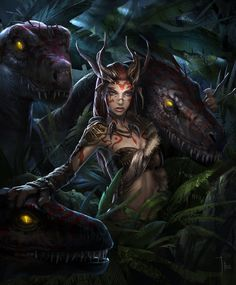 Image from fantasy and syfy..with some cats..NSFW — phrrmp:   raptor queen by LeeJJ