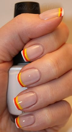 Sunburst French Manicure ... Add some fun to your French Manicure by edging it in fun citrus colors. claws