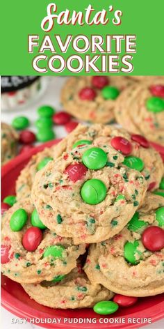 Santa's Favorite Cookies are an easy pudding cookie recipe with sprinkles and candy! This is a simple holiday cookie recipe that stays soft for days.