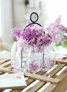 Are you planning a purple, lilac or lavender wedding? Here are some fun pretty purple wedding pictures and decoration ideas. Bottles And Jars, Mason Jars, Milk Bottles, Empty Bottles, Milk Jars, Glass Bottles, My Flower, Beautiful Flowers, Lavender Flowers