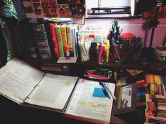 "jahzeiahs-studyblr: "" June 24, 2015 My old desk and study area in my old room. It's crazy that at the time I took this photo, I never knew that there were others like me who loved to study out there. My first official post–besides my intro–as a..."