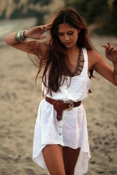 Boho Chic White Lace Open Dress Camel Belt Classical Combination Beach Fashion.