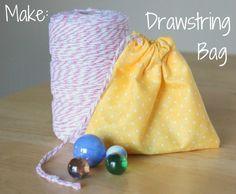 EASY Sewing with Kids- a Simple Drawstring Bag- Only 4 lines of sewing!!!
