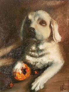 """Купить Картина маслом """"Может купим новый мяч?"""" - собака, домашние животные, питомец, лабрадор"""