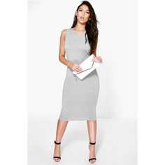 Boohoo Immie Sleeveless Back Detail Midi Dress ($20) ❤ liked on Polyvore featuring dresses and grey