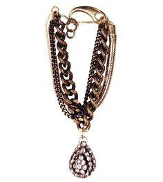 Glynneth B. Three Strand Snake Chain Crystal Drop Bracelet