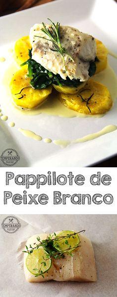 PAPPILOTE PEIXE BRANCO -- Receita de Pappilote de Peixe Branco, super fácil de fazer, servido com batatas assadas e molho cremoso de manteiga. Delicioso e super delicado | temperando.com #receita #receitafacil #peixe #pappilote