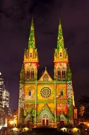 This is St Marys Cathedral in Sydney all lit up as part of the Vivid Festival. Sydney's Vivid Festival runs this year from 27 May to 21 June and is a feast for the eyes. The images are repeated/rotated at regular intervals so you see them all.