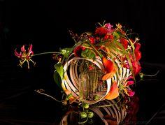 Artist: Lana Bates Art Floral, Floral Artwork, Floral Design, Ikebana Flower Arrangement, Modern Flower Arrangements, Candle Arrangements, Tropical Flowers, Red Flowers, Beautiful Flowers