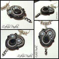 ZoknisPanka Gyöngyei: Fekete-ezüst sujtás medál - Black-silver soutache pendant