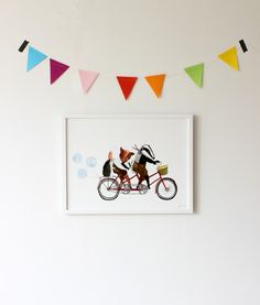 A badger, a fox and a hedgehog on a bike tour! Poster by Yrva - nordicdesigncollective