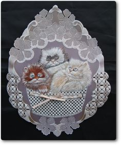 19/Kittens/tarjeria internacional nro17 Parchment Cards, Card Maker, Hobbies And Crafts, Machine Embroidery Designs, Decorative Plates, Projects To Try, Paper Crafts, Christmas Ornaments, Pattern