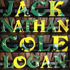 Hand painted John deere wooden letters by LittleJosBoutique John Deere Boys Room, John Deere Nursery, John Deere Bedroom, Baby Nursery Themes, Baby Boy Nurseries, Baby Decor, Farm Nursery, Nursery Ideas, Baby Diy Projects