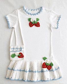 Strawberry T-Shirt Dress and Purse Crochet Pattern [PA796] - $7.99 : Maggie Weldon, Free Crochet Patterns