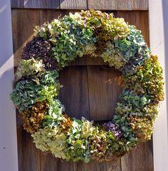 Lavender Hydrangea Wreath | air dried mixed fall hydrangea wreath.